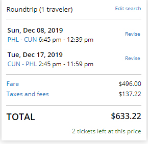 Cheap flights from PHL to CUN Cancun, Mexico