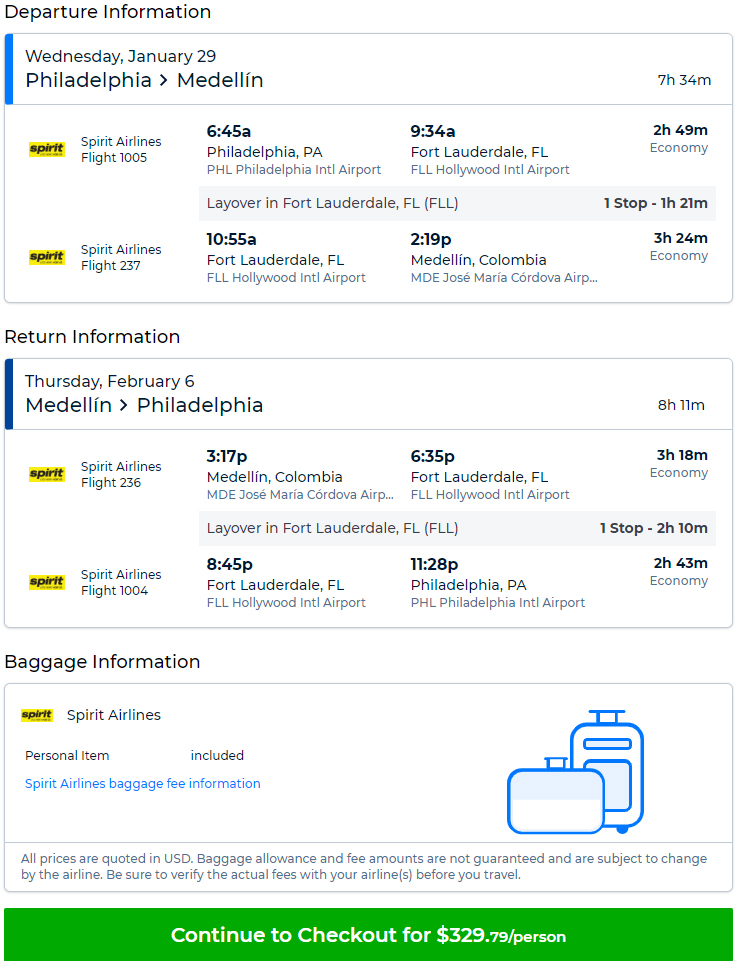 Cheap flights from PHL to MDE Medellin Colombia