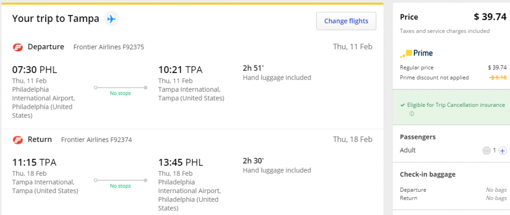 Cheap flights from PHL to TPA Tampa Florida
