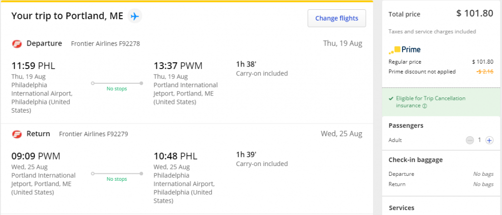 Cheap flights from PHL to PWM Portland Maine