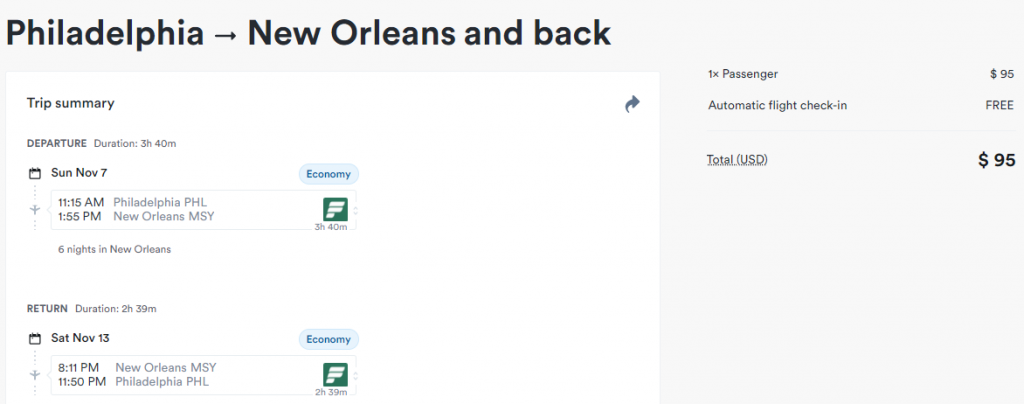 Cheap flights from PHL to MSY New Orleans Louisana